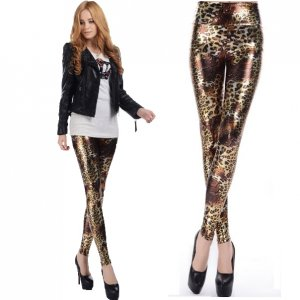 High Waist Leopard Tiger Faux Leather Leggings