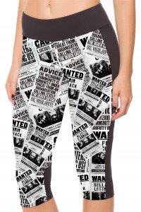 Black White Papers With Side Pocket Phone Capri Pants