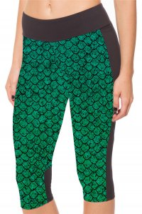 Green Dinosaur Eggs High Waist With Side Pocket Phone Capri Pants