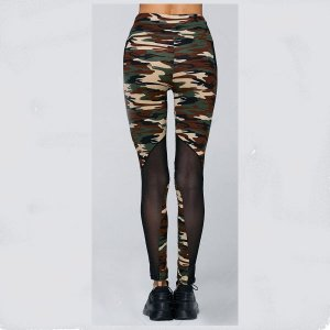Army Camo Woman High Waist Patchwork Mesh