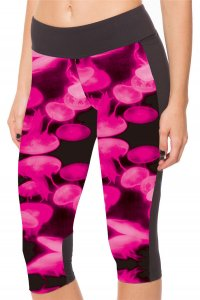 Red Jellyfish High Waist With Side Pocket Phone Capri Pants