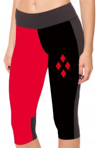 Red and Black Diamond High Waist With Side Pocket Phone Capri Pants