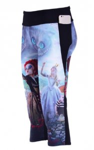 Alice in Wonderland High Waist With Side Pocket Phone Capri Pants