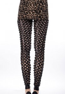 Black Fish Scale Pierced Holes Leggings