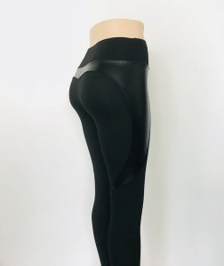 High Waist Black Leggings with Pu Leather Patchwork