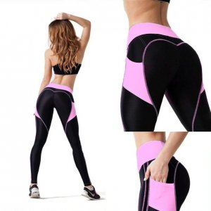 Black Leggings with Pink Pockets