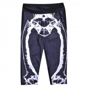 Black White Skeleton High Waist With Side Pocket Phone Capri Pants