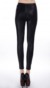 Rivet Cross Lace Patchwork Faux Leather Leggings