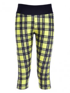 Yellow Grid High Waist With Side Pocket Phone Capri Pants