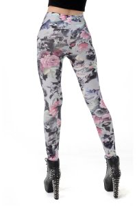 Gray Flower Leggings
