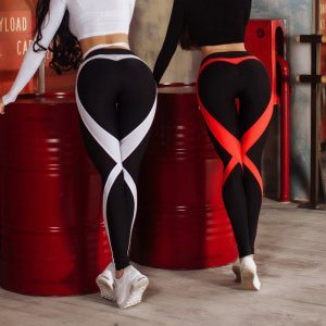 Red Heart Sport White Heart Sport Printed Fitness Yoga LeggingsFitness Yoga Leggings