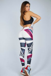 White Ladies Sport Printed Fitness Yoga Leggings