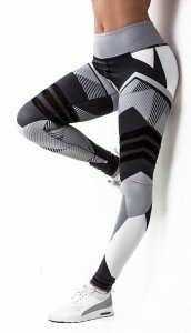 97f51c877297b4 Gray Patterned Sport Fitness Yoga Workout Leggings