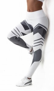 White Patterned Sport Fitness Yoga Workout Leggings
