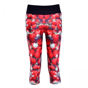 Strawberry High Waist With Side Pocket Phone Capri Pants