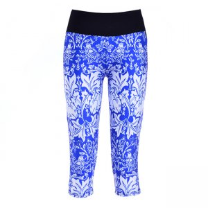 Blue and White Porcelain High Waist With Side Pocket Phone Capri Pants