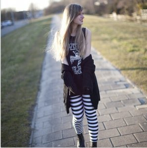 Rock Black and White Striped Leggings
