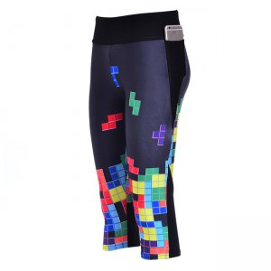 Tetris High Waist With Side Pocket Phone Capri Pants