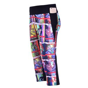 Comics Cartoon High Waist With Side Pocket Phone Capri Pants