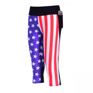 The USA High Waist With Side Pocket Phone Capri Pants