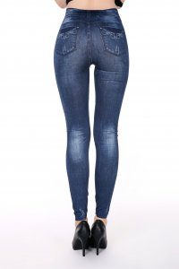 Blue Heart Jeans Print Leggings