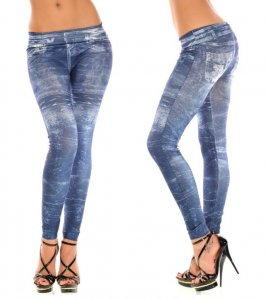 Stone Washed Look Blue & Black Jeans Print Leggings