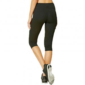 Black capri sport leggings with mesh