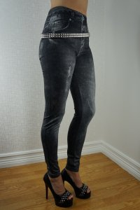 Black Jeans Print Leggings