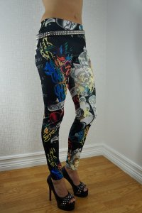 Color Tattoo Black Leggings