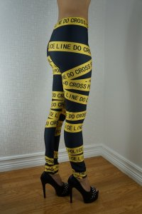 Yellow Black Police Leggings