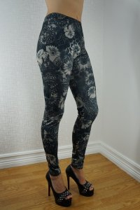 Grey Flowers Leggings