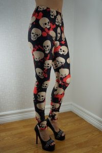 White Skulls Black Leggings