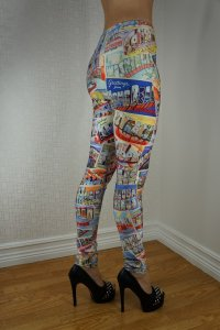 Old Postcards leggings