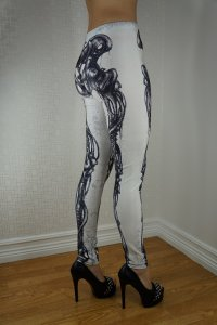 White Machine Skeleton Leggings
