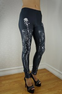 Black White Skeleton Leggings