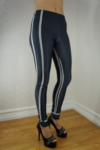 White Stripes Black Leggings