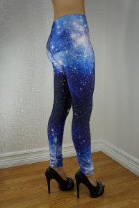 Universe White Blue Leggings