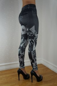 Players Black Jeans Print Leggings
