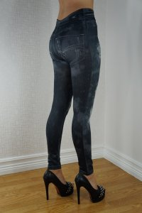 Hole Imitation Jeans Print Leggings