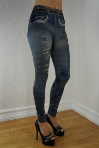 Paris Dark Blue Jeans Print leggings