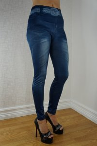 Blue Belt Jeans Print Leggings