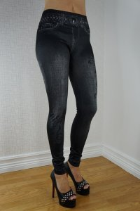 Guitar Black Jeans Print leggings