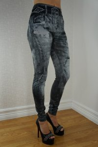 Black Belt Black Jeans Print Leggings