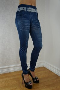 White Belt Blue Jeans Print Leggings
