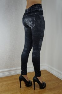 Stone Washed Look Black Jeans Print Leggings