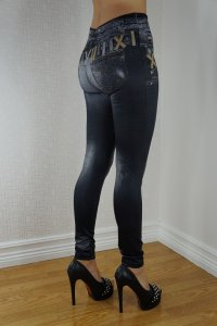 Double Fake Pockets Jeans Print Leggings Gold