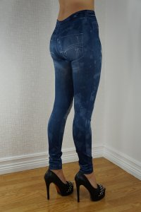 Imitation Hole Jeans Print Leggings