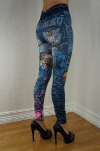 Dream Blue Jeans Print Leggings