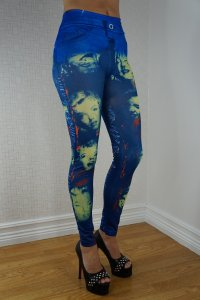 Blue Marilyn Monroe Jeans Print Leggings