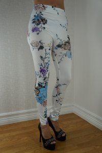 White Leggings Color Roses